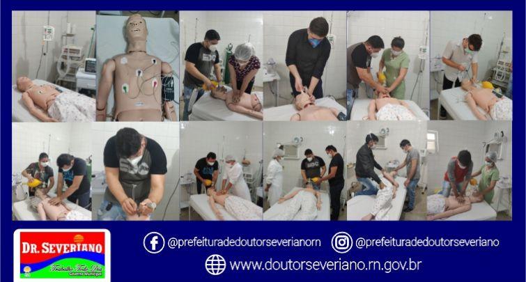 Capacitação para médicos, enfermeiros e técnicos da unidade de referência para atendimento de pacientes com suspeita de Covid-19 no município.