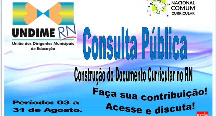 Convite para a Consulta Pública do Documento Curricular do RN versão Preliminar