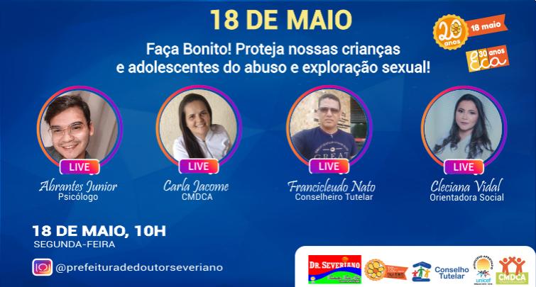LIVE -  18 De Maio Dia Nacional de Combate ao Abuso e a Exploração Sexual de Crianças e Adolescentes