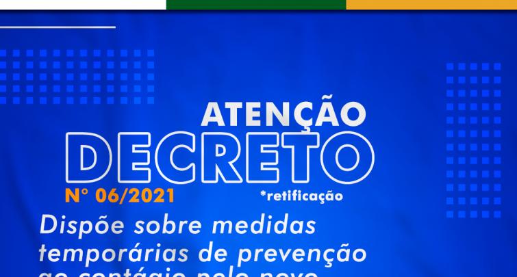 DECRETO MUNICIPAL n° 06/2021, de 04 de março de 2021.